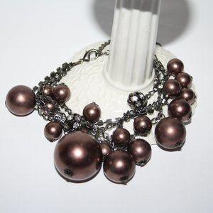 """Large black and brown ankle bracelet 9-12"""""""